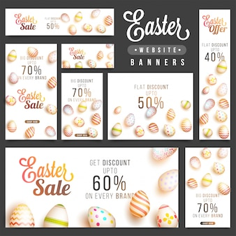 Set of easter banners with great discounts