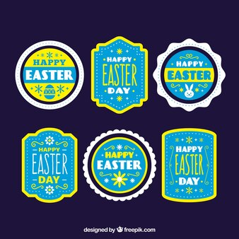 Set of easter stickers in vintage style