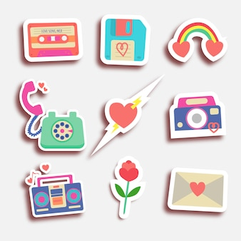 Set of eighty valentine stickers