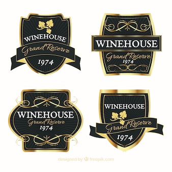 Set of elegant and golden wine stickers