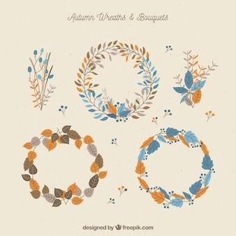 Set of elegant autumn wreaths in vintage style