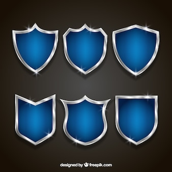 Set of elegant blue and silver shields