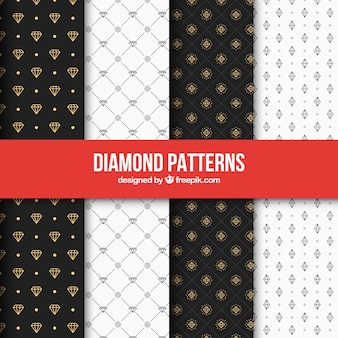 Set of elegant diamond patterns