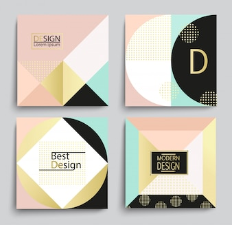 Set of elegant geometric banner template design.