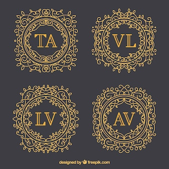 Set of elegant gold monograms