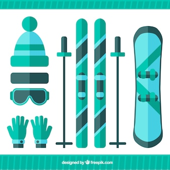 Set of elements to ski in flat design