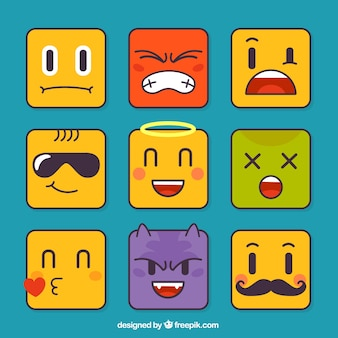 Set of emoticons in square shape