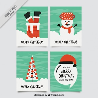 Set of enjoyable christmas cards