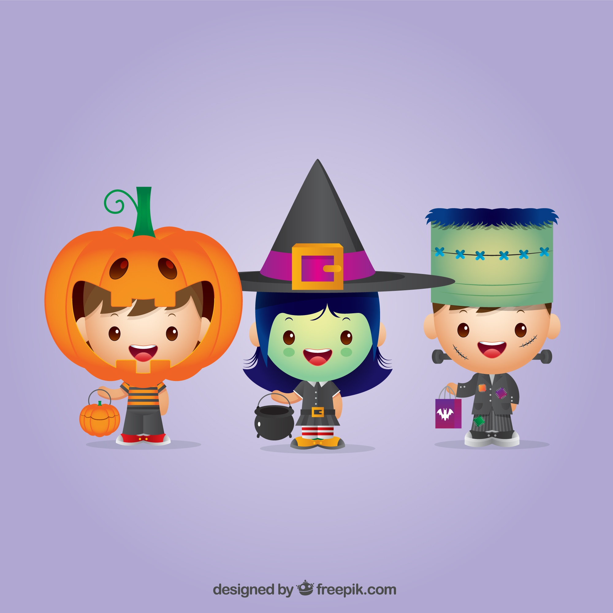Set of enjoyable halloween children dressed