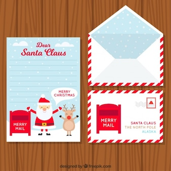 Set of envelope with postcard and letter for santa claus