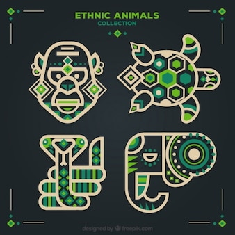 Set of ethnic animals in flat design