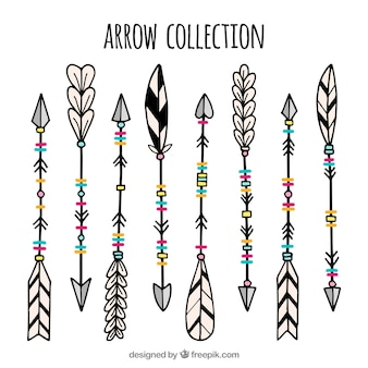 Set of ethnic hand drawn arrows