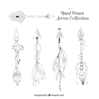 Set of ethnic hand drawn arrows