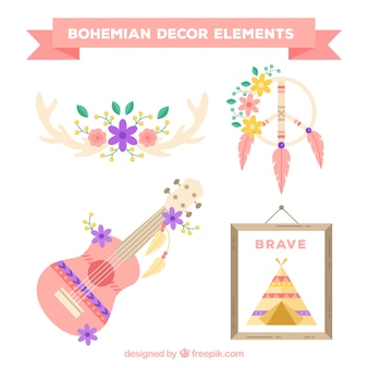 Set of ethnic objects in pastel colors