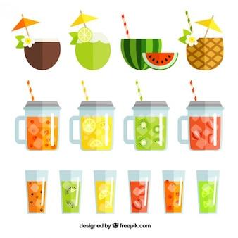 Set of exotic fruit drinks