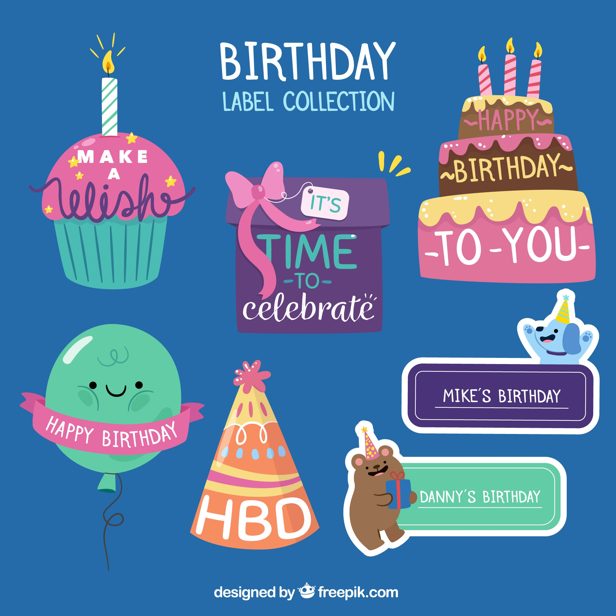Set of fantastic birthday labels