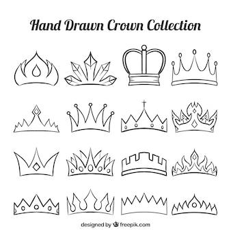 Set of fantastic hand-drawn crowns