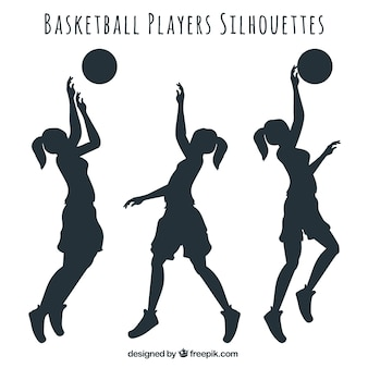 Set of female silhouettes of basketball players