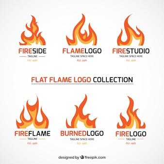 Set of fire logos