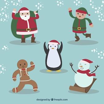 Set of five christmas characters