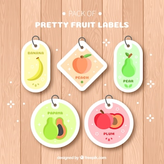 Set of five fruit tags