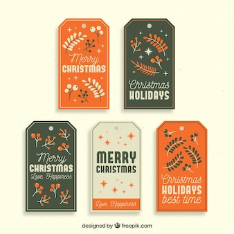 Set of five retro tags of merry christmas