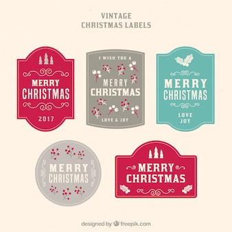 Set of five vintage merry christmas stickers