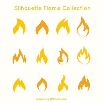 Set of flames silhouettes