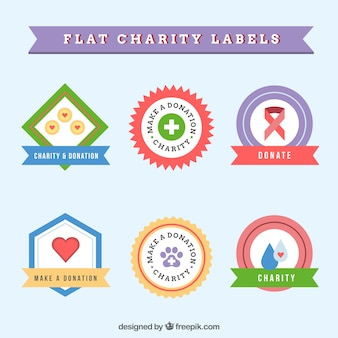Set of flat colored charity labels