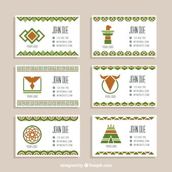 Set of flat corporate cards with green elements