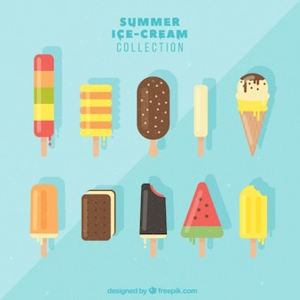 Set of flat ice-creams of different tastes