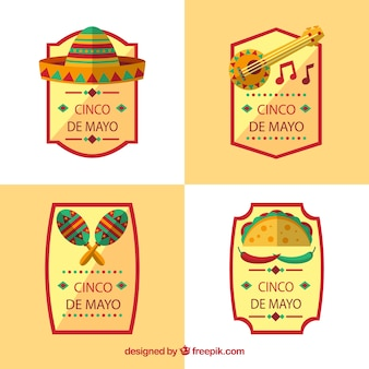 Set of flat labels with traditional mexican objects