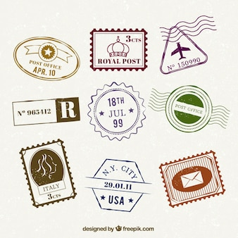 Set of flat trip stamps