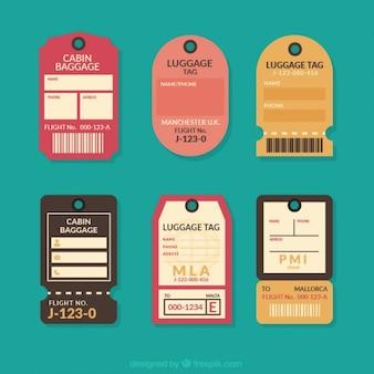 Set of flat vintage travel tags