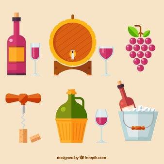 Set of flat wine elements