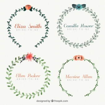 Set of floral bridal frames painted with watercolor
