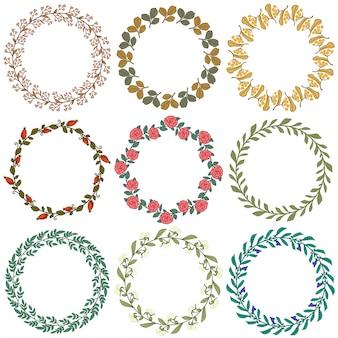 Set of floral decorative wreaths