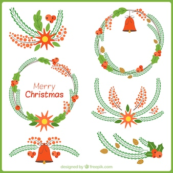 Set of floral details and hand drawn christmas wreaths