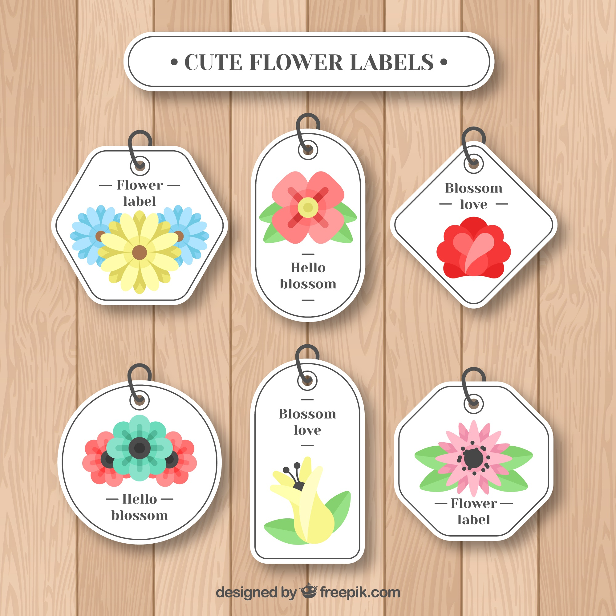 Set of floral labels with flat design