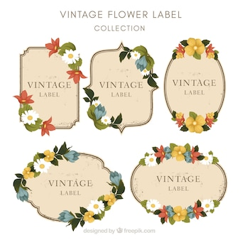 Set of floral stickers in vintage style
