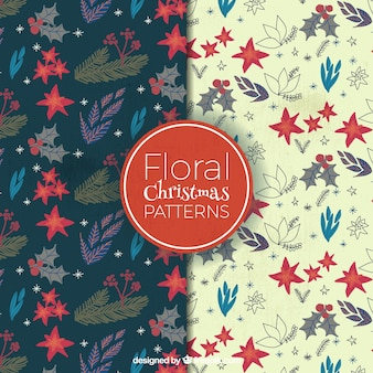 Set of floral vintage patterns for christmas