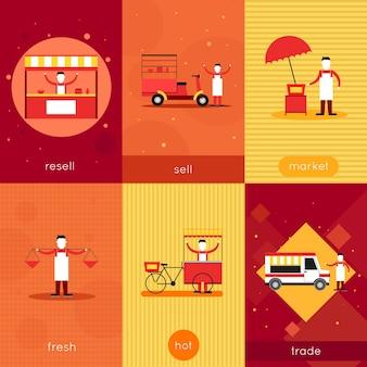 Set of food stalls