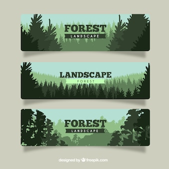 Set of forest banners