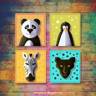 Set of four badges with animals in watercolor