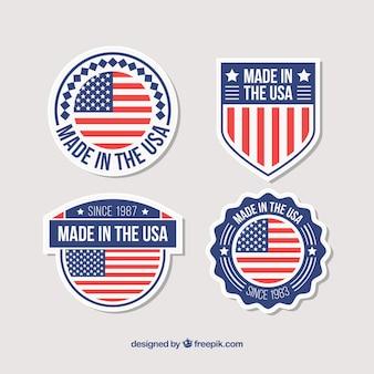アメリカの国旗を持つ4個のバッジのセット