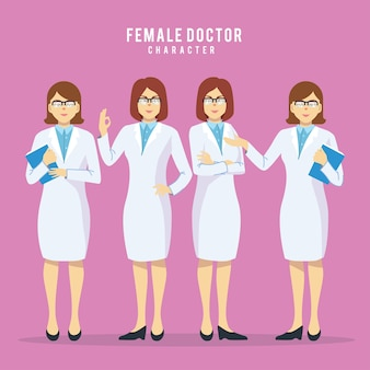 Set of four beauty female doctors in different pose