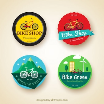 Set of four bicycles labels