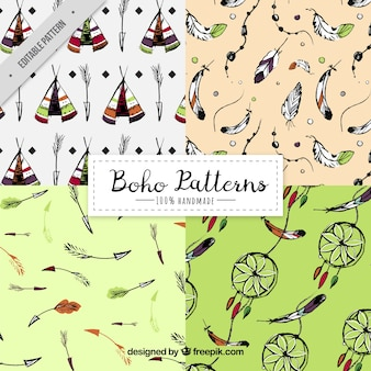 Set of four boho patterns in hand-drawn style