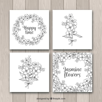 Set of four cards with hand drawn jasmine