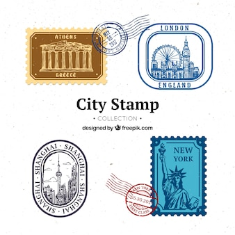 Set of four city stamps